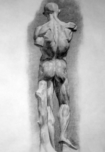 Drawing In The High Art School book - pencil man ecorche 01