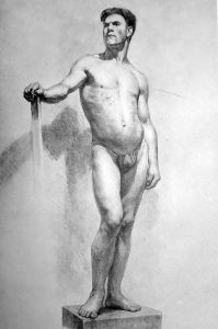 Drawing In The High Art School book - pencil nude man pose front