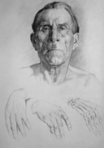 Drawing In The High Art School book - pencil man portrait and hand draft
