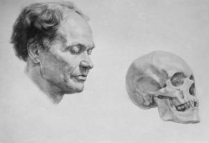 Drawing In The High Art School book - pencil skull and man 01