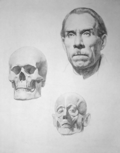 Drawing In The High Art School book - pencil skull and man face