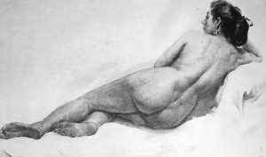 Drawing In The High Art School book - pencil nude woman lay down