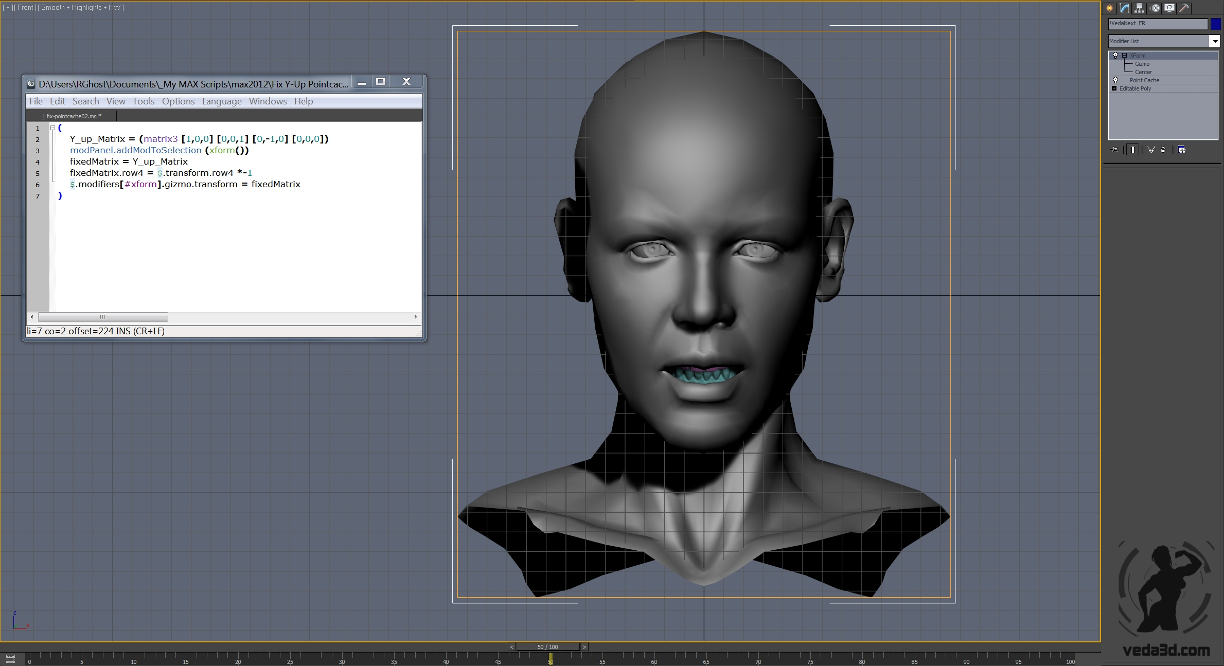 Fixed 3d model of the Veda's head after applied maxscript code snippet