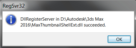 Success 3dsmax thumbnail provider registration message