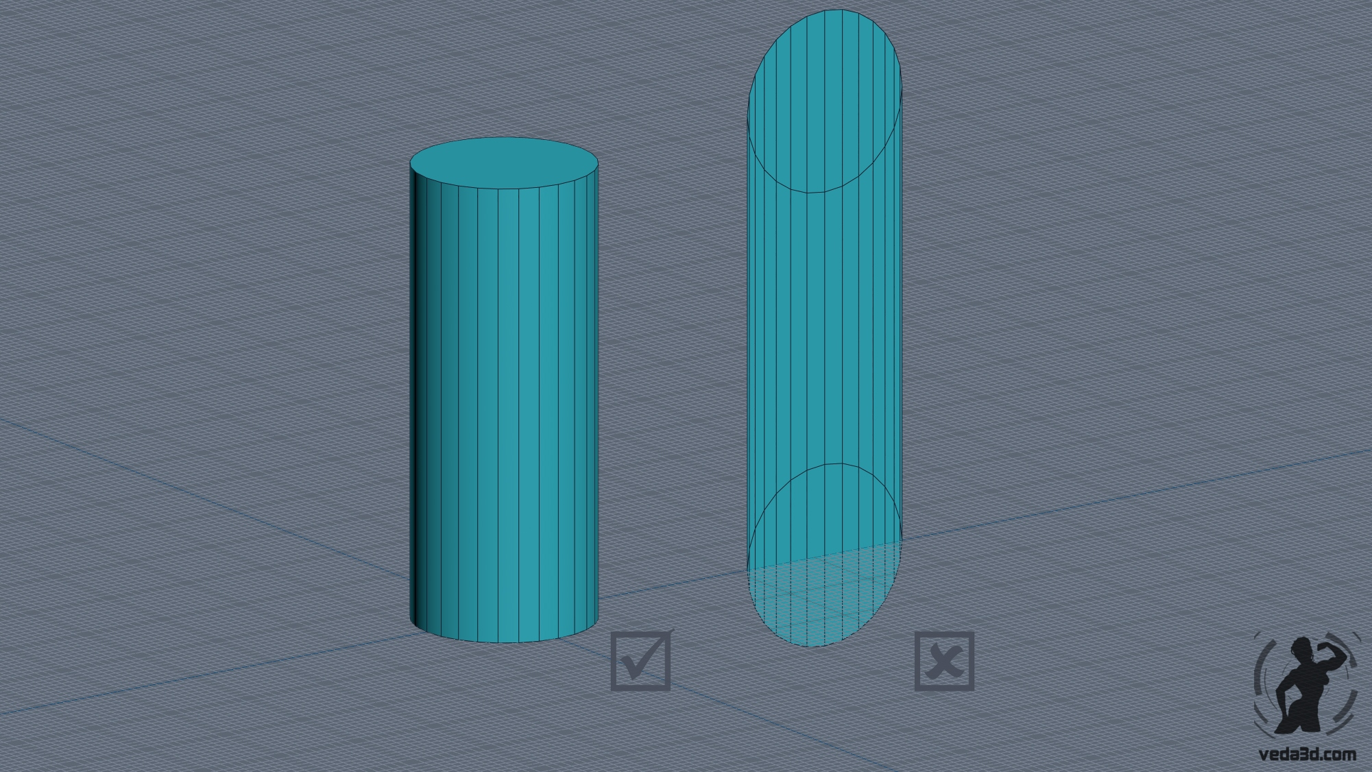 3d cylider object wrong right