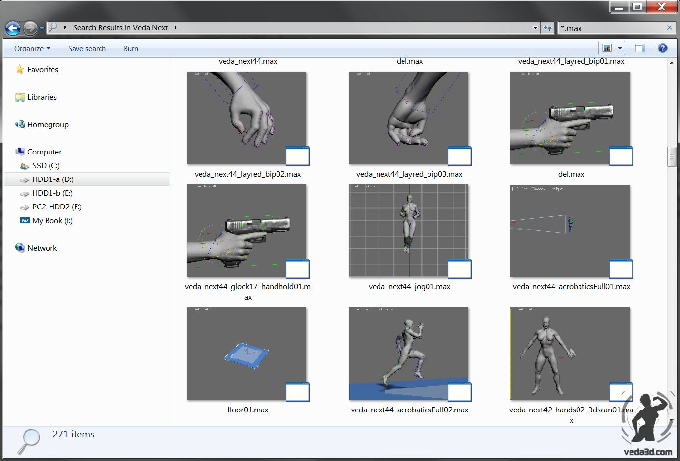 Windows explorer with 3dsmax files thumbnails